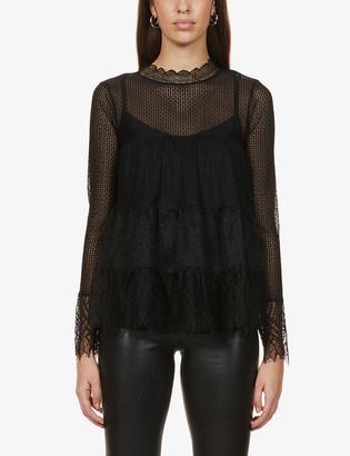 AllSaints Briella semi-sheer stretch-lace top