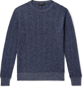 Ermenegildo Zegna Cable-Knit Melange Cashmere And Cotton-Blend Sweater