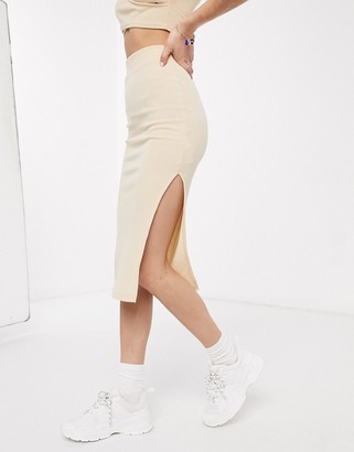 Miss Selfridge ribbed midi skirt in oatmeal co-ord
