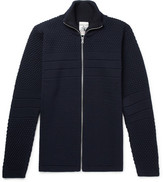 S.N.S. Herning Torso Panelled Textured-knit Wool Zip-up Sweater - Navy