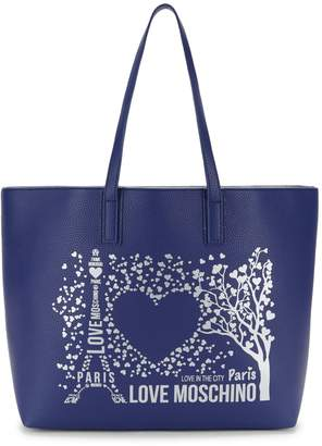 Love Moschino Love In The City Paris Faux Leather Tote
