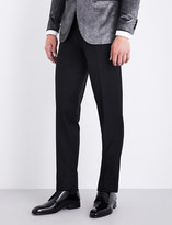 Brioni Silk piping-detail regular-fit straight wool trousers