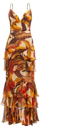 Johanna Ortiz Canto Del Corazon Floral-print Crepe Maxi Dress - Yellow Multi