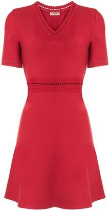 Twin-Set punch-hole detail V-neck dress