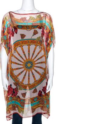 Dolce & Gabbana Multicolor Silk Chiffon Wheel Printed Kaftan Tunic XL