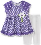 Kids Headquarters Purple Floral Tunic & White Capri Pants - Toddler & Girls
