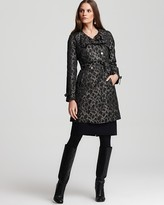 Elie Tahari Clarissa Long Sleeve Leopard Print Trench Coat