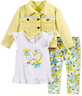 Nannette 3-Pc. Jacket, T-Shirt & Leggings Set, Baby Girls (0-24 months)