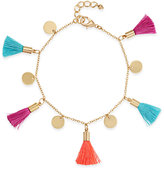 INC International Concepts Gold-Tone Multi-Color Tassel and Disc Ankle Bracelet, Only at Macy's