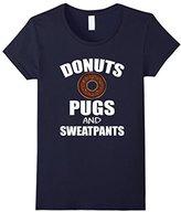 Women's FUNNY DONUTS PUGS SWEATPANTS T-SHIRT Dog Lovers Gift Medium