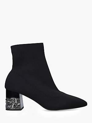 Carvela Kingpin Block Heel Sock Ankle Boots, Black
