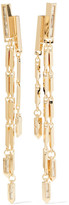 Eddie Borgo Twill Fringe Gold-plated Cubic Zirconia Earrings - one size