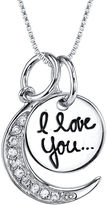 JCPenney FINE JEWELRY Crystal Sterling Silver I Love You to the Moon and Back Pendant Necklace