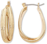 Liz Claiborne Gold-Tone Textured Twisted Hoop Earrings