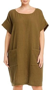 Eileen Fisher Plus Organic Cotton Short-Sleeve Shift Dress