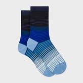 Paul Smith Women's Blue Fading Stripe Socks