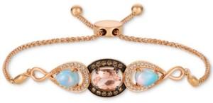 LeVian Le Vian Multi-Gemstone (1-3/8 ct. t.w.) & Diamond (1/3 ct. t.w.) Bolo Bracelet in 14k Rose Gold