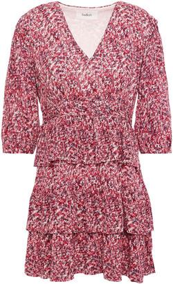 BA&SH Nina Tiered Printed Crepe Mini Dress