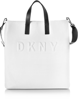 DKNY Debossed Logo Cream/Black Leather Tote