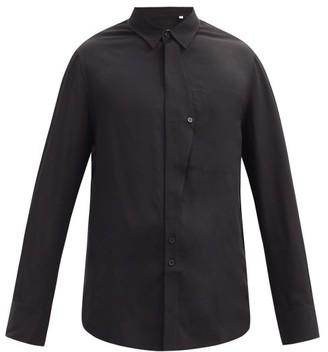 Equipment Amir Asymmetric-placket Twill Shirt - Black
