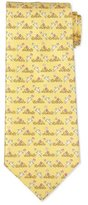 Salvatore Ferragamo Bunny-Print Silk Tie, Yellow