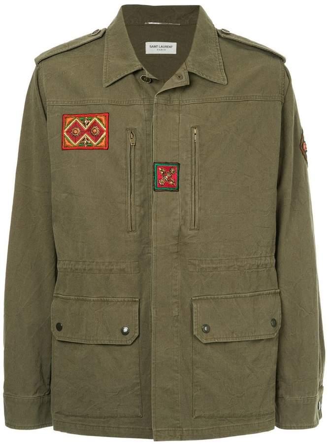 Saint Laurent patch detail military parka jacket