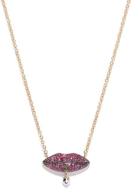 Delfina Delettrez Pierced Lips 18kt Gold & Ruby Necklace - Womens - Yellow Gold