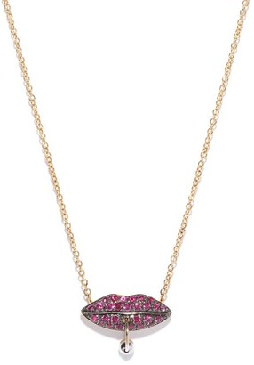 Delfina Delettrez Pierced Lips 18kt Gold & Ruby Necklace - Womens - Yellow Gold