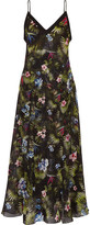 Fleur Du Mal Floral-print Silk-chiffon Dress - Black