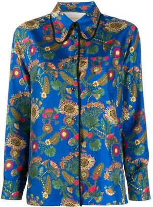 La DoubleJ x Mantero Rodeo Thistle Blu print Shirt