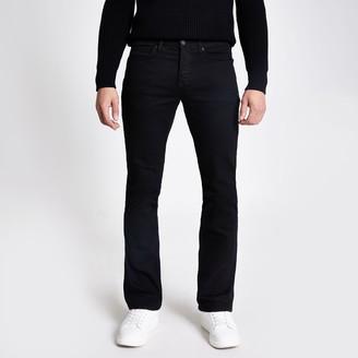 River Island Mens Black Clint bootcut stretch jeans