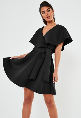 Missguided Black Wrap Front Ruffle Skater Scuba Mini Dress