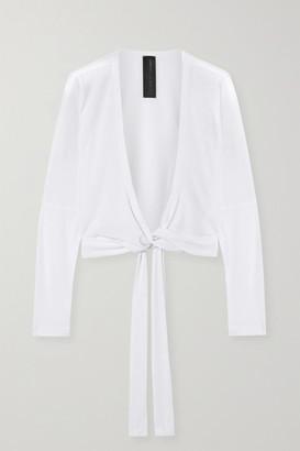 Norma Kamali Cropped Stretch-jersey Wrap Top - White
