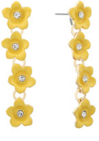 Liz Claiborne Flower Linear Earring Yellow Goldtone