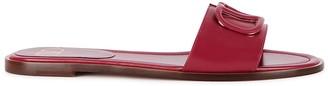 Valentino VLogo raspberry leather sliders