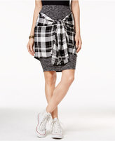 Material Girl Juniors' Plaid Wrap-Front Pencil Skirt, Only at Macy's
