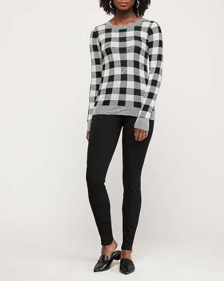 Express Buffalo Plaid Fitted Crew Neck Sweater
