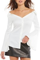 Gianni Bini Kim Off the Shoulder Bell Sleeve Button Down Top