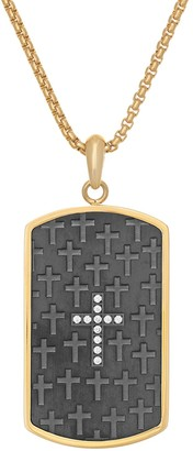 Lynx Men's Stainless Steel Cubic Zirconia Cross Dog Tag Pendant