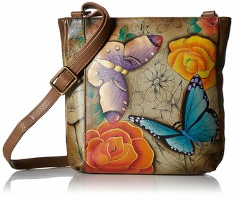 Anuschka Anna by Women's Genuine Leather Medium Cross Body | Hand Painted Original Artwork | Midnight Peacock One Size
