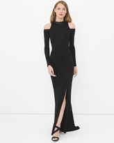 White House Black Market Cold Shoulder Embellished Mock Neck Black Gown