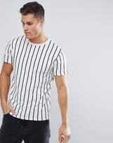 Stradivarius Vertical Stripe T-Shirt In White