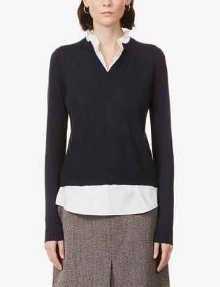 Ted Baker Ilinaa ruffle-trim knitted jumper