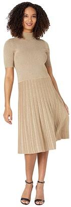 Lauren Ralph Lauren Metallic Mock Neck Dress (Gold) Women's Clothing