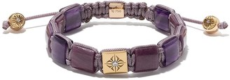 Shamballa Jewels 18kt yellow gold, diamond and amethyst Lock beaded bracelet