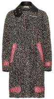 Balenciaga Leather-trimmed wool-blend bouclé coat