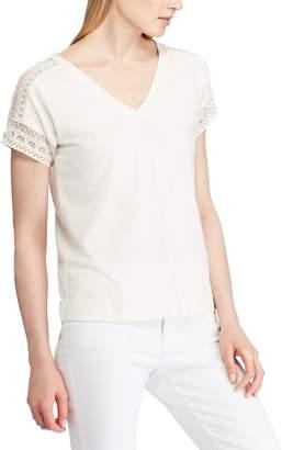 Lauren Ralph Lauren Lace V-Neck Blouse with Short Sleeves