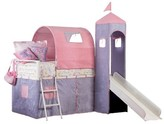 Powell Company Princess Castle Tent Bunk Bed with Slide Multi-Colored (Twin)