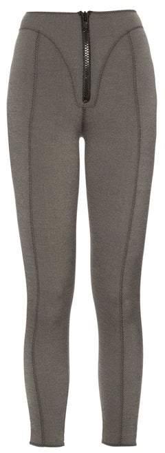 Lisa Marie Fernandez Yoke Zip Front High Waisted Leggings - Womens - Denim