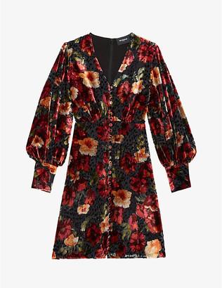 The Kooples Floral velvet midi dress